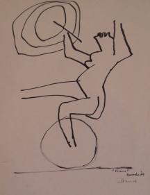 M.F. Husain CIRCUS 1 (CIRCUS SERIES BARDODA) 1964 Marker on paper 11.5 x 9 in.