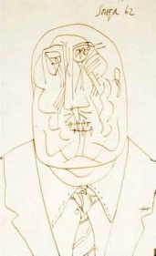 F. N. Souza UNTITLED (DRAWING 4) 1962 Pencil, pen and ink on paper 13 x 8 in.  SOLD