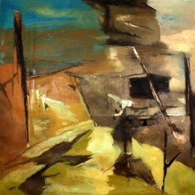 Ram Kumar Untitled Abstract 11 1970 Oil on canvas 50.5 x 50.5 in.