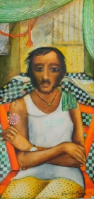 Anjolie Ela Menon MAN ON A RED CHAIR 2013 Oil on masonite 39 x 17 in.