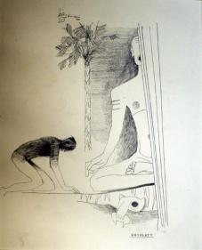 M. F. Husain ENTREATY 1977 Pencil on paper 13 x 11 in.