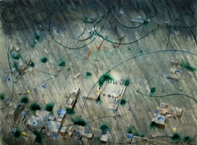 Indrapramit Roy THE DELUGE 2006 Watercolor on paper 40.5 x 56 in.