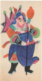Kalighat Painting GUARDIAN FIGURE (BLUE) ND Silver, opaque and transparent pigments on paper 17.5 x 11 in.