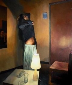 Salman Toor CLERIC UNDRESSING 2009 Oil on canvas 72 x 60 in.