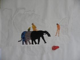 Avishek Sen, Untitled 4, 2010, Water based medium on paper, 47 x 60 in