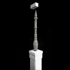Saks Afridi, Levitating Minaret, 2019, High density foam, electromagnets, wood, and paint, 24 x 4 in