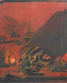 S. H. Raza Untitled (Brown Abstraction) 16 x 13 in. Oil on canvas 1977 Estimate - $22,000 - $28,000