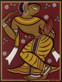 Jamini Roy UNTITLED (DANCING GOPI) c. 1960s Tempera on card 21.75 x 16.5 in.