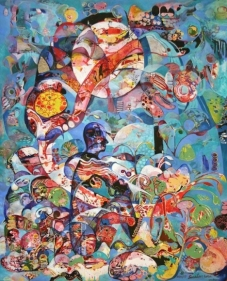 Sanatan Saha UNTITLED (SEATED FIGURE IN TEAL) 2007 Acrylic on canvas 60 x 48 in.