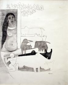 M. F. Husain RASHI 1977 Pencil on paper 14 x 11 in.