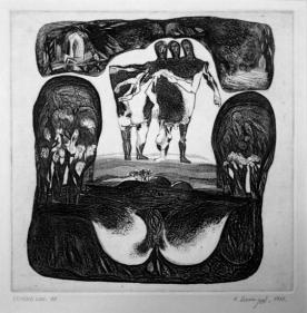 UNTITLED ( HALF ANIMAL HALF HUMAN ) 1970 Etching 10 x 9.5 in.