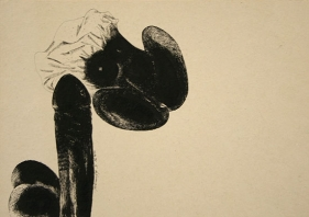 Laxma Goud Untitled (Penis and Woman) 1975 Ink on board 13.5 x 9.5 in.