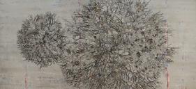 G. R. Iranna  Tempered Tree, 2015  Acrylic on tarpaulin  66 x 144 in
