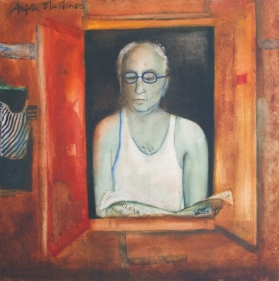 Anjolie Ela Menon LOOKING OUT OF A WINDOW 2004 Oil on canvas 36 x 36 in.  SOLD