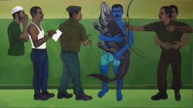 Anwar Saeed  A Casual State of Being in a Soul Hunting Haven, 2017  Acrylics on canvas  60 x 108 in