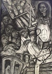 Rekha Rodwittiya THE TEACHER Charcoal on paper 47 x 31 in.