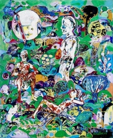 Sanatan Saha UNTITLED (GREEN FIGURE RECLINING) 2008 Acrylic and oil on canvas 36 x 30 in.