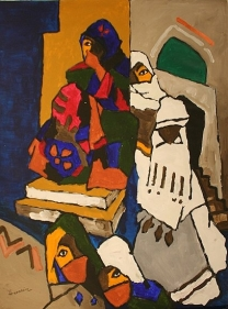 M.F. Husain WOMEN FROM YEMEN 2006 Acrylic on canvas 58 x 46 in.