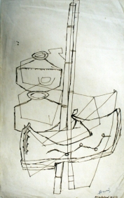 M. F. Husain Ahmedabad 1959 Ink on paper 12.5 x 8 in.