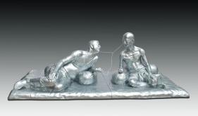 Debanjan Roy INDIA SHINING 7 (GANDHI SHARING IPOD) 2009 Fiberglass with acrylic paint Edition of 5 36 x 108 x 48 in.