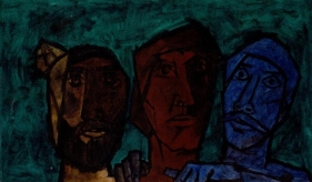 M. F. Husain UNTITLED (HEADS - GREEN) 1957 Oil on canvas 20 x 33 in.