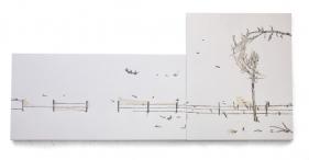 Saad Qureshi ESSENCES 2013 Mixed media on canvas 36 x 78 in.
