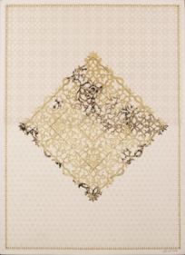 Anila Quayyum Agha Antique Lace - 4 2016 Laser-cut patterns on paper with mylar and embroidery 29.5 x 21.5 in.