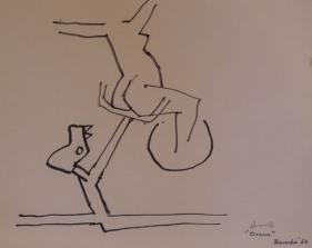 M.F. Husain CIRCUS 2 (CIRCUS SERIES BARDODA) 1964 Marker on paper 9 x 11.5 in.