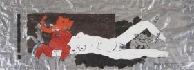 M. F. Husain FROLICKING GANESH 1974 Acrylic on foil sheet 19 x 52 in.