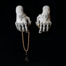 Saks Afridi, A.N.G.E.L.S. Hands, 2019, 3D printed acrylic, paint, and brass leaf  12 x 6 in