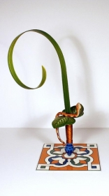 Adeela Suleman Kar Wa Farr Series 3 2014 Hand-painted steel sword, iron and metal tile with enamel paint 19.5 x 12 x 9 in.