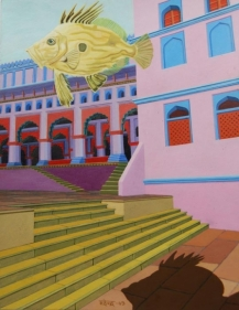 Mahendar Soni VISITOR FROM SARYN 2008 Acrylic on Paper 6.9 x 8.9 in. NFS