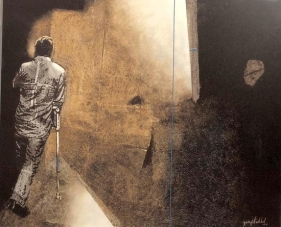 Yusuf Arakkal THE STREET - VII Acrylic and oil on canvas 48 x 58 in.  NFS