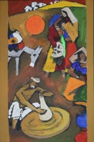 M.F. Husain VILLAGE SCENE Acrylic on canvas 36 x 24 in.  SOLD