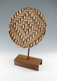 Halima Cassell  Pl r2, 2011  Hand carved unglazed stoneware clay  16 x 13 in