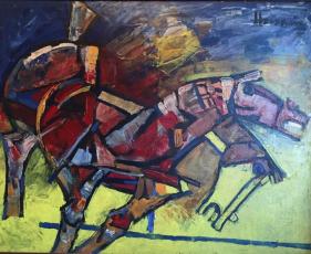 M.F. Husain HORSES 1982 Acrylic on canvas 40 x 50 in.