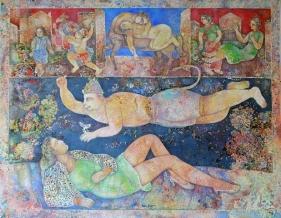 Sakti Burman MESSENGER 2008 Oil on canvas 45 x 57.5 in.
