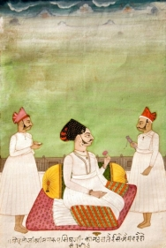 Portrait of Mohata Ji and Shri Manrup Ji, signed by Isa India, Bikaner Opaque watercolor and gold on paper c. 1780 8 x 5.5 in.