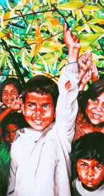 Binoy Varghese REFUGEES / THEIR OWN LANDS - II 2009 Acrylic on canvas 78 x 42 in.