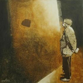 Yusuf Arakkal THE STREET - IV Acrylic and oil on canvas 48 x 48 in.  NFS