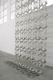 Adeela Suleman AFTER ALL IT'S ALWAYS SOMEBODY ELSE WHO DIES 1 (Ed. of 2) 2010 Hanging steel 111 x 51.5 in.