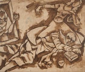 M. F. Husain   Devdas, 2002  Acrylic on canvas  60 x 70 x 2 in