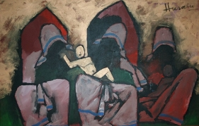 M. F. Husain MOTHER THERESA Oil on canvas 37.5 x 60 in.