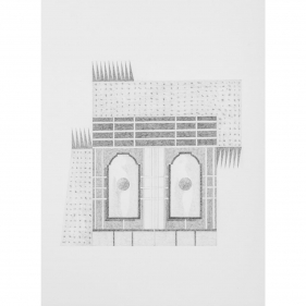 Seher Naveed  Contraption 8, 2021  Graphite on paper  15.75 x 11.75 in