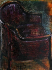 Indrapramit Roy THE REXINE CHAIR Mixed media on paper 29 x 21 in.