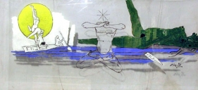 M.F. Husain YOGIC POSE 1974 Acrylic on plastic/glass 24 x 53 in.