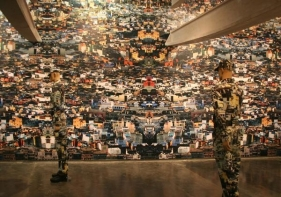 Vibha Galhotra NEO CAMOUFLAGE 2009 Digital Print on vinyl and fabric and mannequins