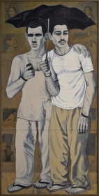 Anwar Saeed  Temporary Situations, 2012  Acrylics and collage on plywood  72h x 36w in