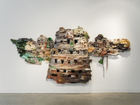 Ruby Chishti  The Present is a Ruin Without the People  2016  Recycled textiles, wire mesh, thread, wood, embellishment, metal scrapes, and archival glue; with sound  82h x 128w x 12d in