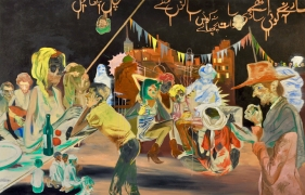 Salman Toor, Rooftop Party With Ghosts 3 (TRIPTYCH), 2015, Oil on canvas, 46.50 x 72 in